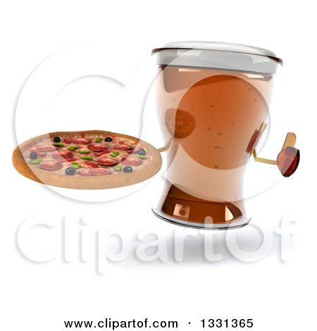 Clipart of a 3d Beer Mug Character Giving a Thumb up and Holding a Pizza - Royalty Free Illustration by Julos