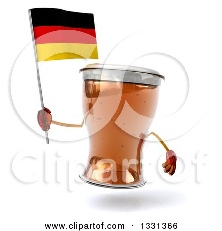 Clipart of a 3d Beer Mug Character Holding a German Flag - Royalty Free Illustration by Julos
