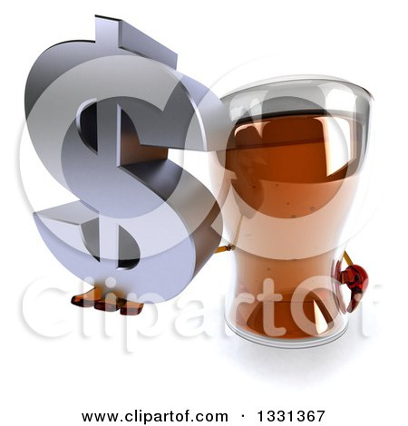 Clipart of a 3d Beer Mug Character Holding up a Dollar Symbol - Royalty Free Illustration by Julos