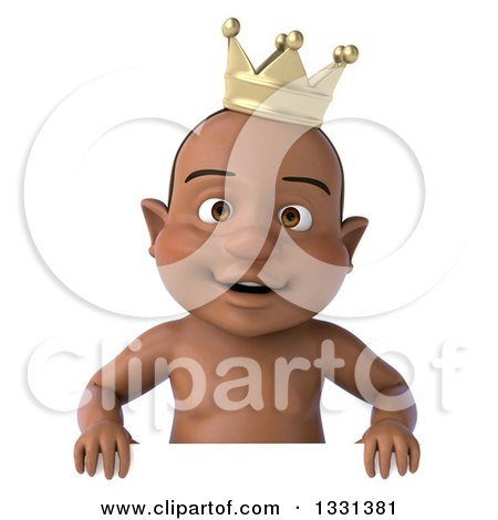 Clipart of a 3d Black Baby Boy Wearing a Crown and Smiling over a Sign - Royalty Free Illustration by Julos