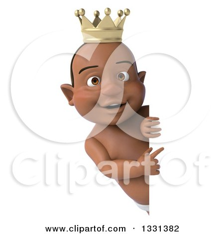 Clipart of a 3d Black Baby Boy Wearing a Crown and Pointing Around a Sign - Royalty Free Illustration by Julos