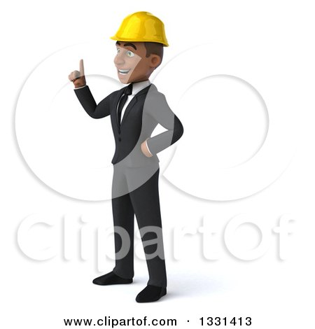 Clipart of a 3d Young Black Male Architect Facing Left and Holding up a Finger - Royalty Free Illustration by Julos