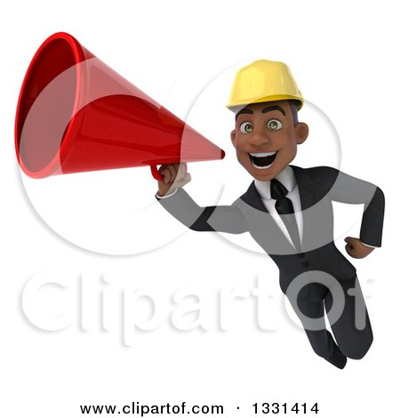 Clipart of a 3d Young Black Male Architect Flying and Announcing with a Megaphone - Royalty Free Illustration by Julos