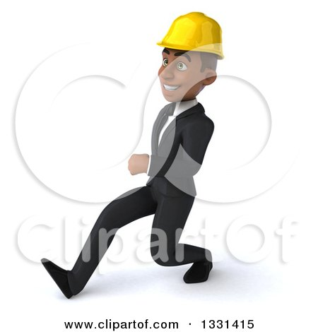 Clipart of a 3d Young Black Male Architect Speed Walking to the Left - Royalty Free Illustration by Julos