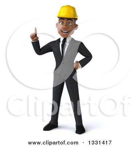 Clipart of a 3d Young Black Male Architect Holding up a Finger - Royalty Free Illustration by Julos