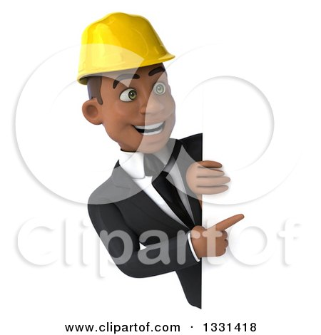 Clipart of a 3d Young Black Male Architect Pointing and Looking Around a Sign - Royalty Free Illustration by Julos