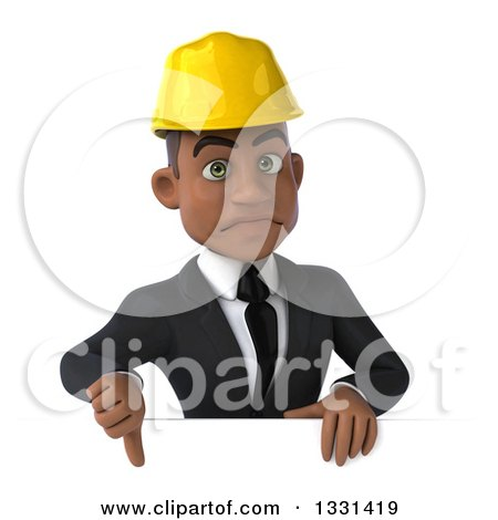Clipart of a 3d Young Black Male Architect Giving a Thumb down over a Sign - Royalty Free Illustration by Julos