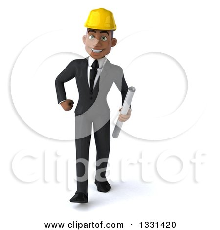 Clipart of a 3d Young Black Male Architect Walking with Blueprints - Royalty Free Illustration by Julos