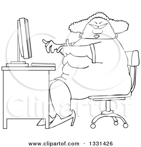 Lineart Clipart of a Cartoon Black and White Chubby African American Woman Wearing Glasses and Working at a Computer Desk - Royalty Free Outline Vector Illustration by djart
