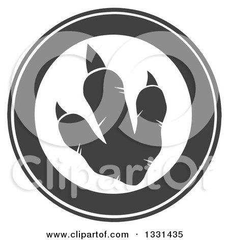 Clipart of a Dark Gray Raptor Dinosaur Foot Print 3 - Royalty Free Vector Illustration by Hit Toon