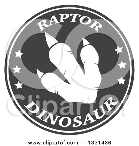 Clipart of a White Raptor Dinosaur Foot Print in a Gray Circle with Text - Royalty Free Vector Illustration by Hit Toon