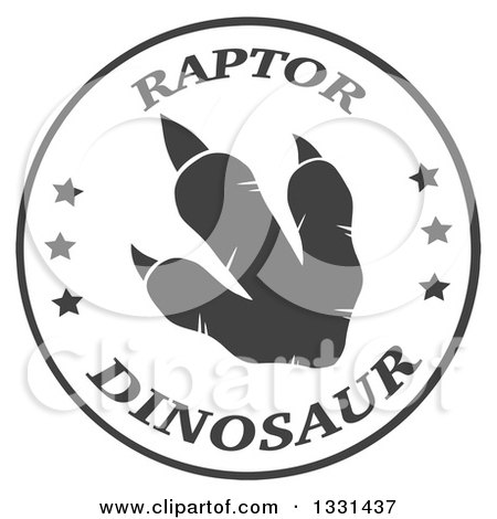 Clipart of a Dark Gray Raptor Dinosaur Foot Print in a White Circle with Text - Royalty Free Vector Illustration by Hit Toon