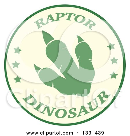 Clipart of a Green Raptor Dinosaur Foot Print in a Circle with Text - Royalty Free Vector Illustration by Hit Toon