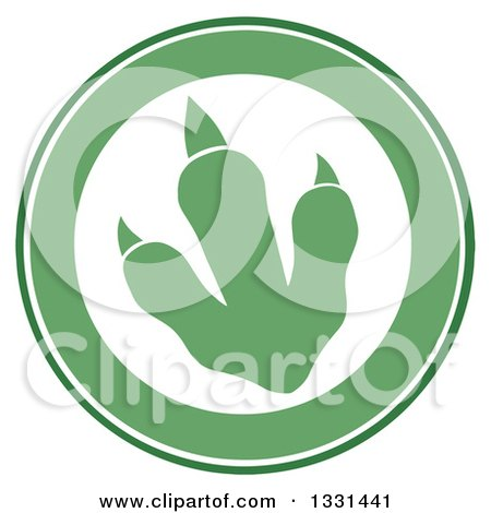 Clipart of a Green Raptor Dinosaur Foot Print in a Circle - Royalty Free Vector Illustration by Hit Toon