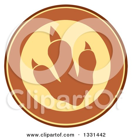 Clipart of a Raptor Dinosaur Foot Print in a Yellow and Brown Circle - Royalty Free Vector Illustration by Hit Toon