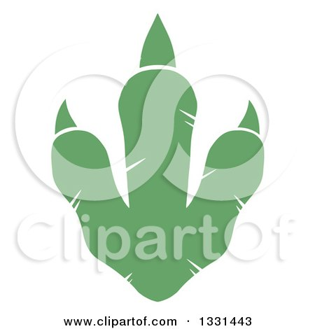 Clipart of a Green Raptor Dinosaur Foot Print 2 - Royalty Free Vector Illustration by Hit Toon