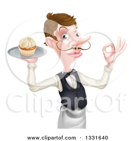 Clipart of a Cartoon Caucasian Male Waiter with a Curling Mustache, Gesturing Ok and Holding a Cupcake on a Tray - Royalty Free Vector Illustration by AtStockIllustration