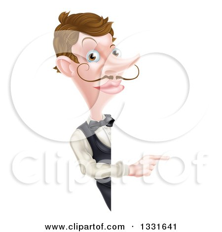 Clipart of a Cartoon Caucasian Male Waiter with a Curling Mustache, Pointing Around a Sign - Royalty Free Vector Illustration by AtStockIllustration
