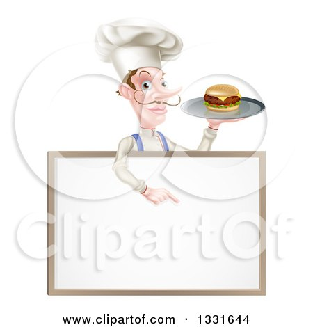 Clipart of a White Male Chef with a Curling Mustache, Holding a Cheeseburger on a Platter and Pointing down over a Blank Menu Sign Board - Royalty Free Vector Illustration by AtStockIllustration