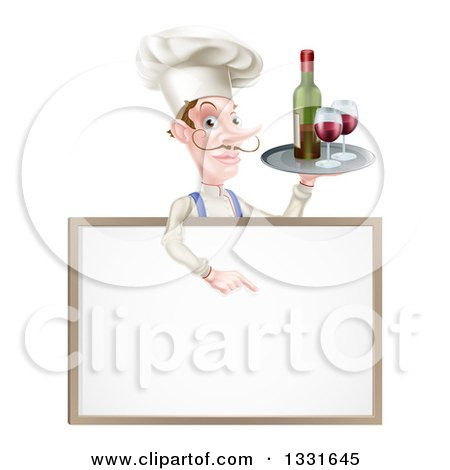 Clipart of a White Male Chef with a Curling Mustache, Pointing down and Holding a Tray with Red Wine over a Blank Menu Sign Board - Royalty Free Vector Illustration by AtStockIllustration