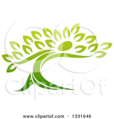 Clipart of a Gradient Green Tree Man - Royalty Free Vector Illustration by AtStockIllustration