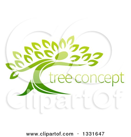 Clipart of a Gradient Green Tree Man with Sample Text - Royalty Free Vector Illustration by AtStockIllustration
