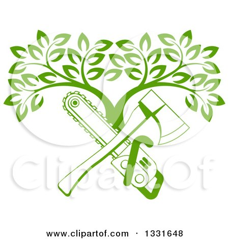 Clipart of a Gradient Green Crossed Chainsaw and Axe and a Tree - Royalty Free Vector Illustration by AtStockIllustration
