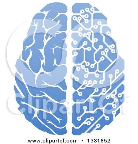 Clipart of a Blue Half Human, Half Artificial Intelligence Circuit Board Brain - Royalty Free Vector Illustration by AtStockIllustration