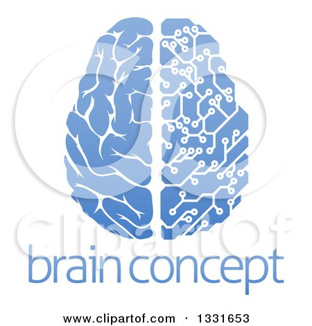 Clipart of a Blue Half Human, Half Artificial Intelligence Circuit Board Brain over Sample Text - Royalty Free Vector Illustration by AtStockIllustration
