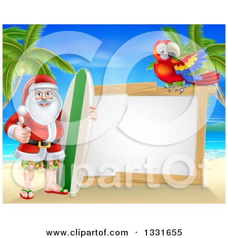 Clipart of a Christmas Santa Claus Giving a Thumb up and Standing with a Surf Board on a Tropical Beach by a Blank White Sign with a Parrot - Royalty Free Vector Illustration by AtStockIllustration