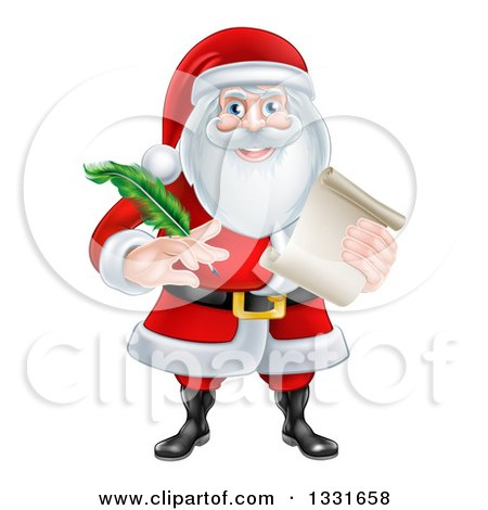 Clipart Of Santa Claus Holding A Feather Pen And Scroll List Royalty Free Vector Illustration