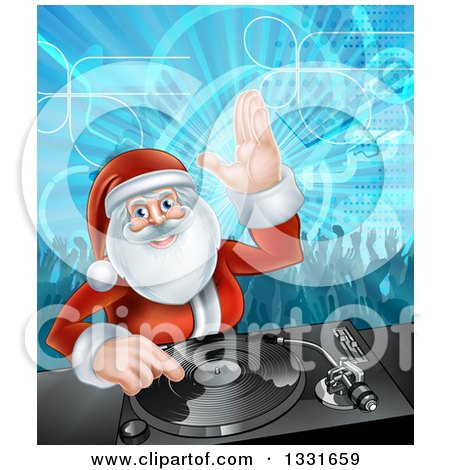 Clipart of a Santa Claus Dj Mixing Christmas Music on a Turntable with People Dancing in the Background 2 - Royalty Free Vector Illustration by AtStockIllustration