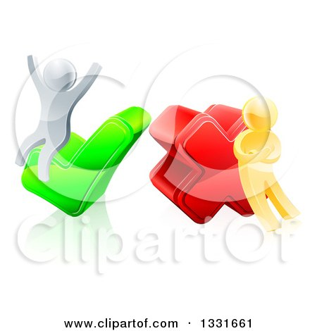 Clipart of 3d Right and Wrong Silver and Gold Men Carrying and Cheering on X and Check Marks - Royalty Free Vector Illustration by AtStockIllustration