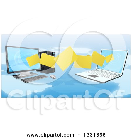 Clipart of a 3d Desktop and Laptop Computer Transfering Files for Backups over a Map - Royalty Free Vector Illustration by AtStockIllustration