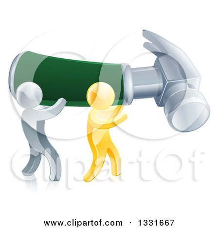 Clipart of 3d Gold and Silver Men Carrying a Giant Green Handled Hammer to the Right - Royalty Free Vector Illustration by AtStockIllustration