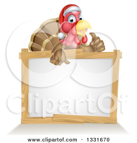 Clipart of a Christmas Turkey Bird Wearing a Santa Hat and Giving a Thumb up over a Blank White Sign 2 - Royalty Free Vector Illustration by AtStockIllustration