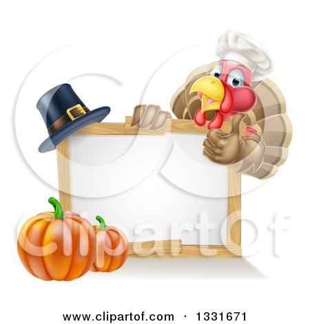Clipart of a Happy Chef Thanksgiving Turkey Bird Giving a Thumb up over a Pumpkin, Blank White Board Sign and Pilgrim Hat - Royalty Free Vector Illustration by AtStockIllustration