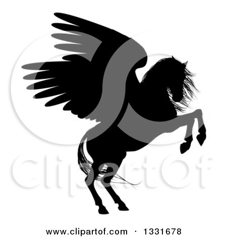 Clipart of a Black Silhouette of a Rearing Winged Pegasus Horse - Royalty Free Vector Illustration by AtStockIllustration