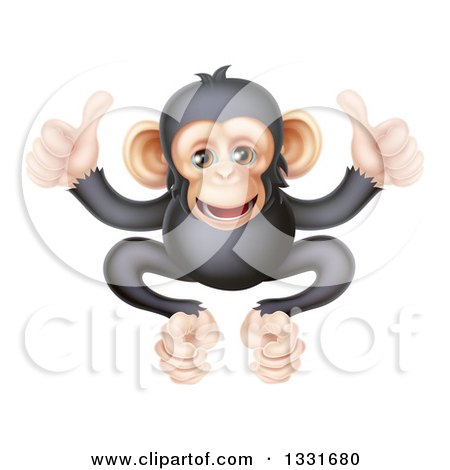 Clipart of a Cartoon Black and Tan Happy Baby Chimpanzee Monkey Giving Two Thumbs up - Royalty Free Vector Illustration by AtStockIllustration