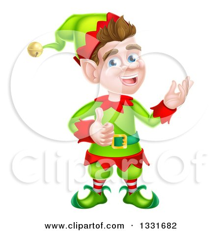 Clipart of a Young Brunette White Male Christmas Elf Presenting and Giving a Thumb up - Royalty Free Vector Illustration by AtStockIllustration
