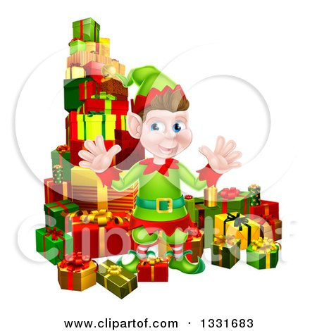 Clipart of a Young Brunette White Male Christmas Elf Surrounded with Gifts - Royalty Free Vector Illustration by AtStockIllustration