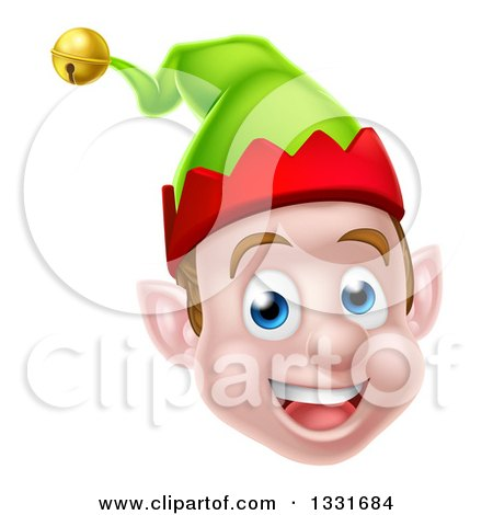 Clipart of a Young Brunette White Male Christmas Elf Face - Royalty Free Vector Illustration by AtStockIllustration