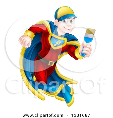 Clipart of a Brunette Caucasian Male Super Hero Painter Running with a Brush 2 - Royalty Free Vector Illustration by AtStockIllustration
