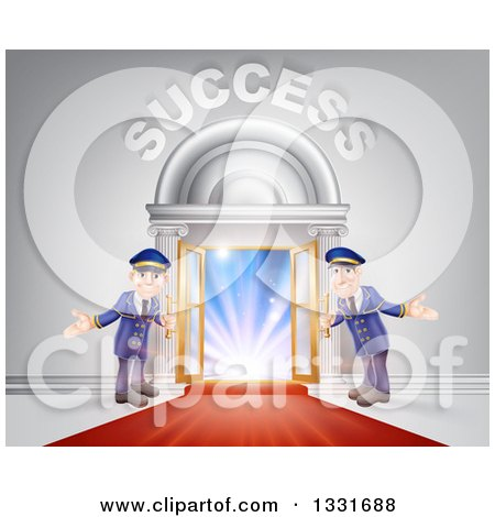 Clipart of Venue Entrance with Welcoming Doormen, a Red Carpet, and Success Text over Light - Royalty Free Vector Illustration by AtStockIllustration