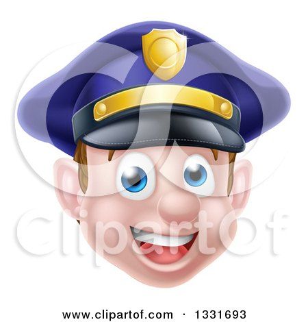 Clipart of a Happy Caucasian Male Police Officer Face - Royalty Free Vector Illustration by AtStockIllustration