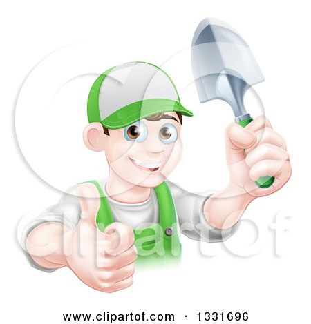 Clipart of a Young Brunette White Male Gardener in Green, Holding up a Shovel and Giving a Thumb up - Royalty Free Vector Illustration by AtStockIllustration