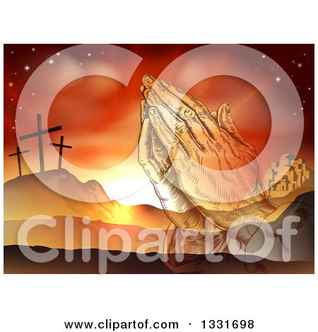 Clipart of a Christian Easter Background of Praying Hands over Two Thieves Crosses on Calvary Hill Outside the City Walls of Bethlehem - Royalty Free Vector Illustration by AtStockIllustration