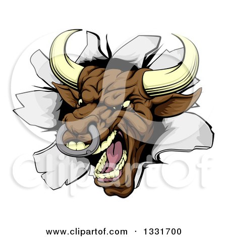 Clipart of a Mad Brown Bull Breaking Through a Wall - Royalty Free Vector Illustration by AtStockIllustration