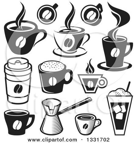 Clipart of Black and White Coffee Cups - Royalty Free Vector Illustration by Any Vector