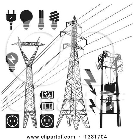 Clipart of Black and White Power Pylons, Lines, Light Bulbs, Batteries and Sockets - Royalty Free Vector Illustration by Any Vector